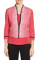 Ming Wang Women's Contrast Trim Mandarin Collar Jacket