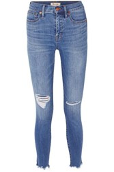 Madewell Distressed High Rise Skinny Jeans Mid Denim