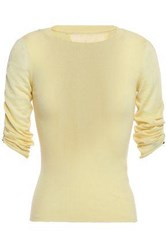 Red Valentino Redvalentino Woman Point D'esprit Trimmed Cashmere And Silk Blend Sweater Pastel Yellow