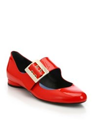 Lanvin Patent Leather Mary Jane Ballet Flats Red