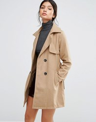 Love And Other Things Belted Mac Coat Camel Orange