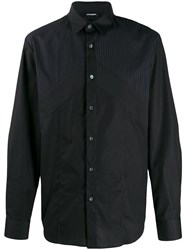 Les Hommes Oversized Shirt With Mixed Fabric Black