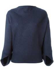Chalayan Signature Drapey Boat Neck Top Blue