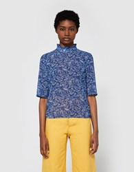 Rodebjer Marble Chiffon Blouse In Blue