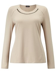 Gerry Weber Embellished Jersey Top Camel