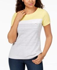 Karen Scott Petite Colorblocked Button Trim Top Created For Macy's Buttercup Yellow