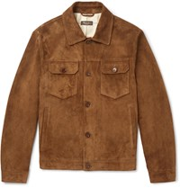 Loro Piana Suede Trucker Jacket Brown