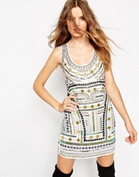 Asos Festival Tribal Mirror Tank Dress White