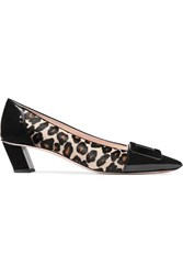 Roger Vivier Belle Decollete Leopard Print Calf Hair And Patent Leather Pumps Leopard Print