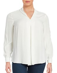 Lord And Taylor Plus V Neck Blouse Ivory