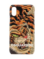 Dsquared Eco Leather Tiger Print I Phone X Cover Multicolor
