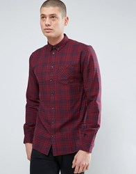 Minimum Thick Textured Flannel Check Shirt Red