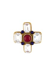 Chanel Vintage Gripoix Crystal Cross Brooch