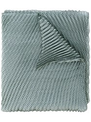 Armani Collezioni Pleated Zigzag Scarf Women Polyester One Size Green
