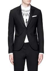 Neil Barrett Satin Peak Lapel Skinny Fit Tuxedo Blazer Black