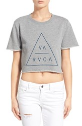 Women's Rvca 'Triangular' Crop Graphic Short Sleeve Sweatshirt