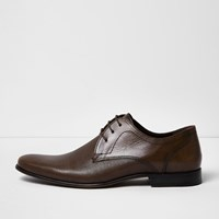 River Island Mensbrown Embossed Leather Formal Shoes