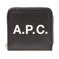 A.P.C. Morgan Logo Leather Wallet Black