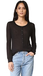 David Lerner Long Sleeve Henley Top Classic Black