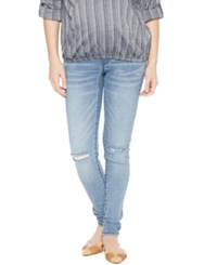 Wendy Bellissimo Distressed Maternity Skinny Jeans Medium Wash