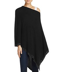 Minnie Rose Studded Cashmere Poncho Sweater Black