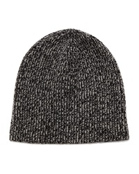 Marled Ribbed Knit Cashmere Beanie Black Black Vince