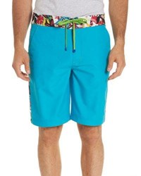 Robert Graham Dos Rios Graphic Trim Swim Trunks With Wet Dry Color Change Effect Teal