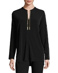 Michael Michael Kors Lace Panel Chain Detail Blouse Black