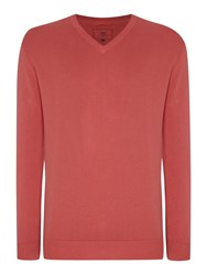 Paul Costelloe Plain V Neck Pull Over Jumper Coral