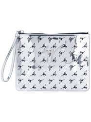 Giuseppe Zanotti Design Logo Print Zipped Clutch Metallic