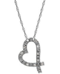 Macy's Diamond Accent Sideways Heart Pendant In 10K White Gold