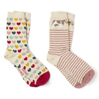 Fat Face Cow And Heart Print Ankle Socks Pack Of 2 Neutral Multi
