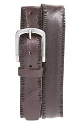 John Varvatos Men's Star Usa Scored Edge Leather Belt Chocolate