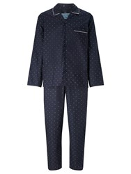 John Lewis Diamond Pin Dot Pyjamas Navy