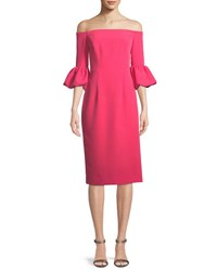 Milly Gia Italian Cady Off The Shoulder Dress Guava
