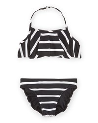 Ralph Lauren Striped Ruffle Halter Bikini Polo Black