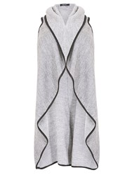 Samya Plus Size Long Line Dipped Hem Cardigan Light Grey
