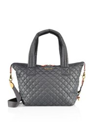 M Z Wallace Sutton Oxford Medium Quilted Nylon Tote Dark Grey