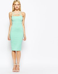 Oh My Love Midi Body Conscious Dress With Strap Front Mint