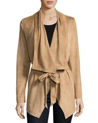 Cirana Faux Suede Wrap Jacket Light Brown