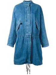 Helmut Lang Fur Lined Denim Parka Blue