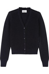3.1 Phillip Lim Metallic Pointelle Knit Wool Blend Cardigan Midnight Blue