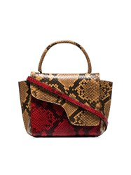 Atp Atelier Red Montalcino Snake Embossed Leather Cross Body Bag