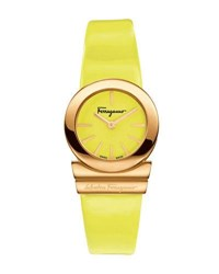 Salvatore Ferragamo 24Mm Gancino Soiree Watch W Leather Strap Yellow