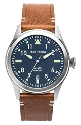 Men's Jack Mason Brand 'Aviation' Leather Strap Watch 42Mm Navy Silver Saddle