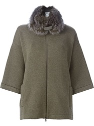 Brunello Cucinelli Collar Oversized Cape Grey