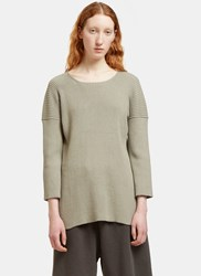 Lauren Manoogian Ribbed Knit Side Slit Sweater Grey