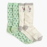 Pre Order J.Crew X Pierre Le Tantm For Design Miamitm Socks Two Pack Flamingo Palm Pack