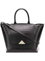 Emporio Armani Crocodile Embossed Tote Black