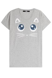 Karl Lagerfeld Choupette Big Eyes Printed T Shirt Grey